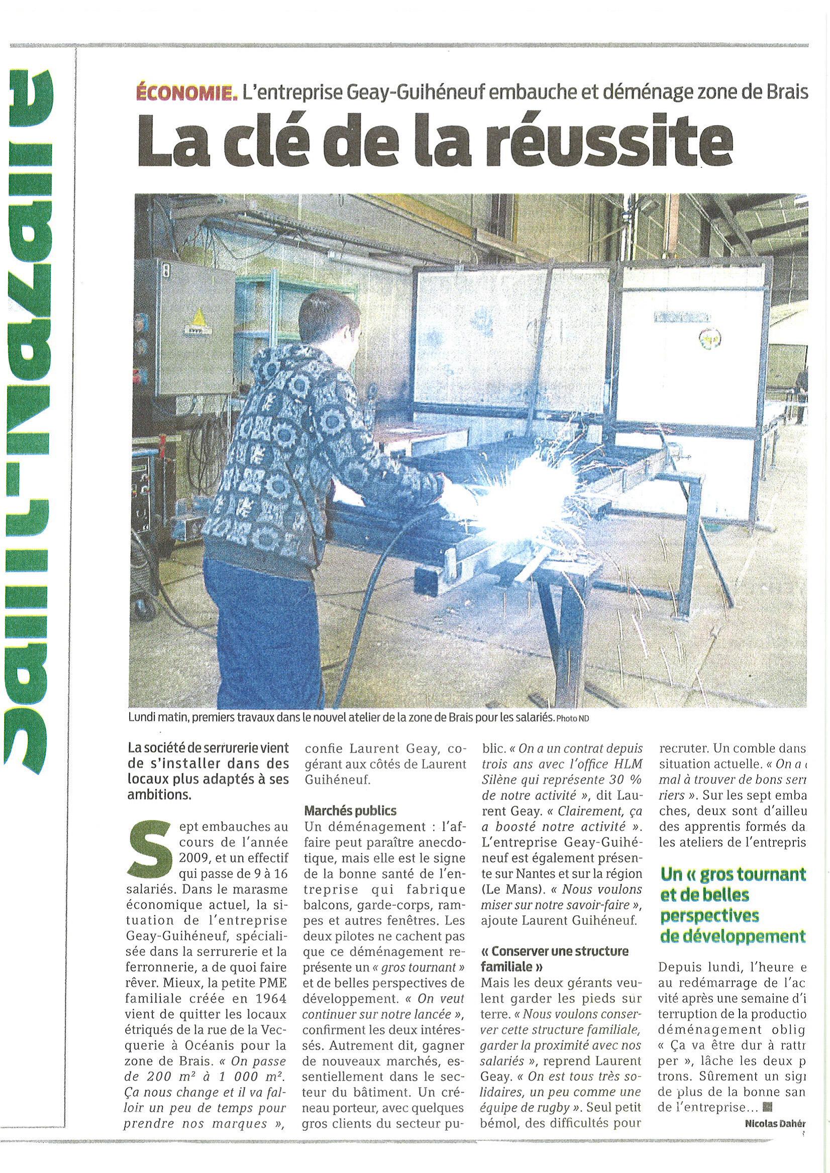 Articles de journaux : Emménagement dans la zone de Brais en 2010