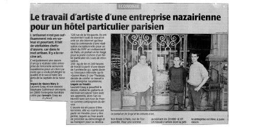 Articles de journaux : Le Travail d'artiste d'une entreprise nazairienne pour un hôtel particulier parisien