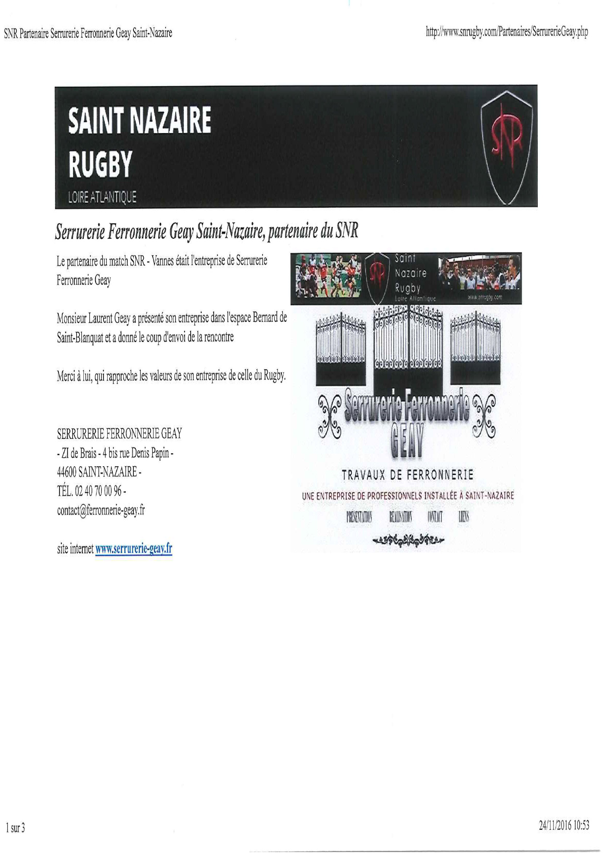 L'entreprise GEAY a été pendant quelques années un des sponsors du Rugby Club de Nazaire